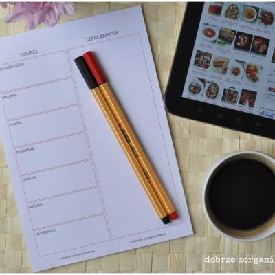 planner posiłków i lista zakupów - format A5