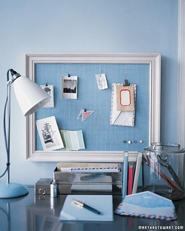 framed bulletin board - martha stewart