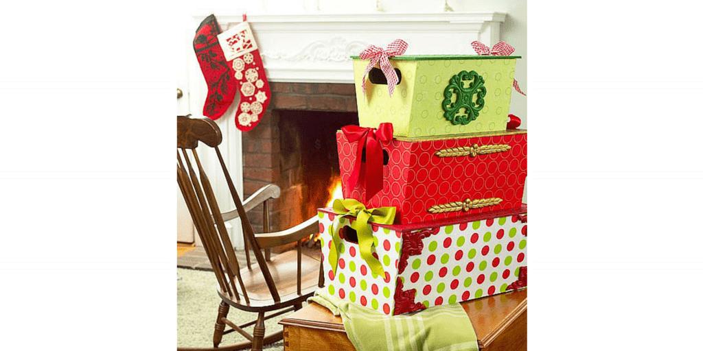 przechowywanie ozdób idekoracji świątecznych - pudło