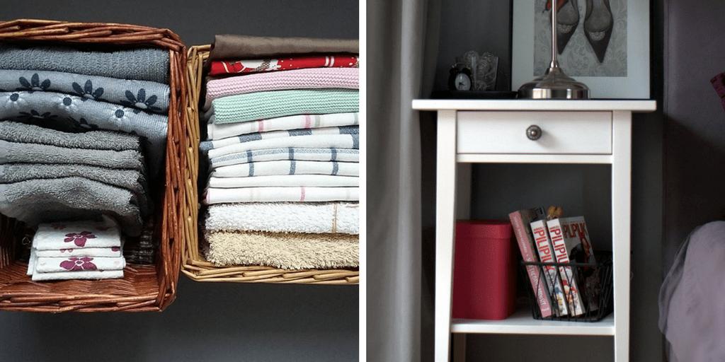 jak wykorzystać koszyki doprzechowywania iorganizacji - ręczniki, książki